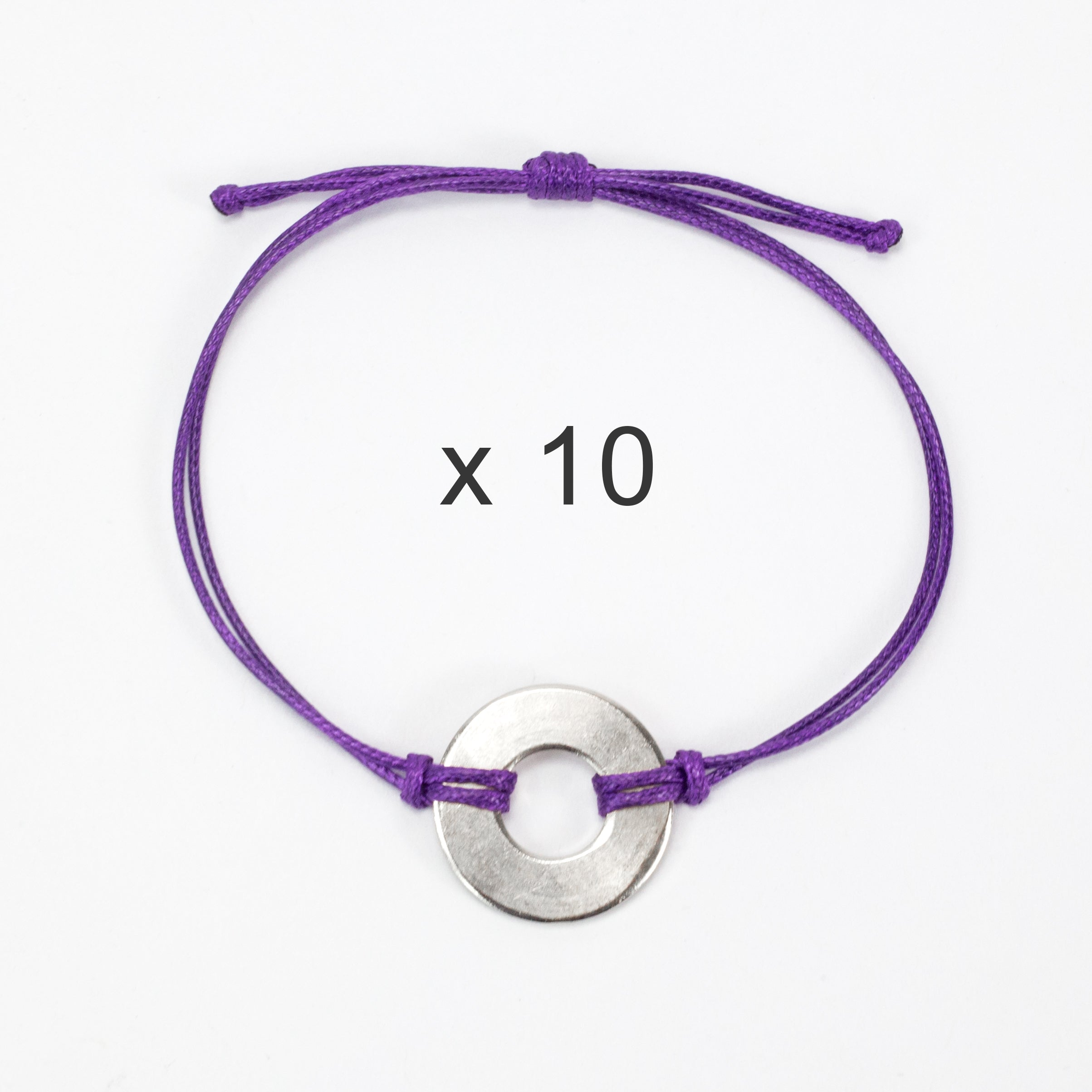 MyIntent Refill Classic Bracelets Purple String set of 10 with Nickel tokens