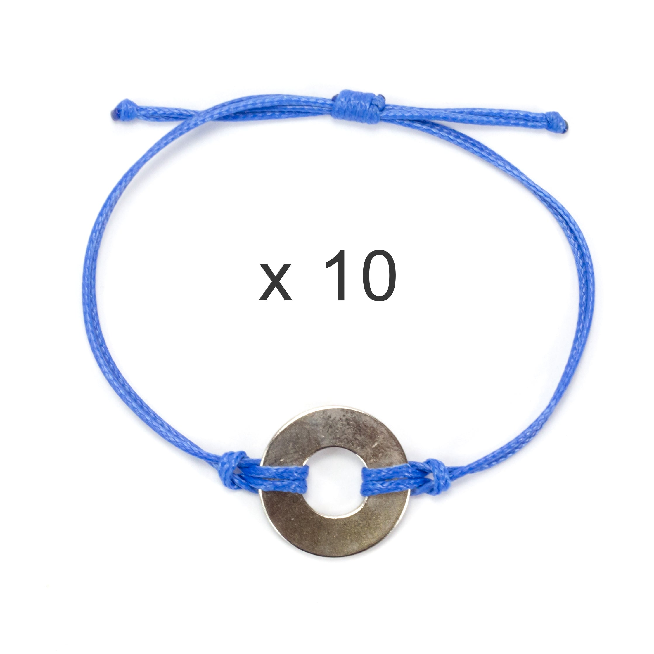 MyIntent Refill Classic Bracelets Blue String set of 10 with Nickel tokens