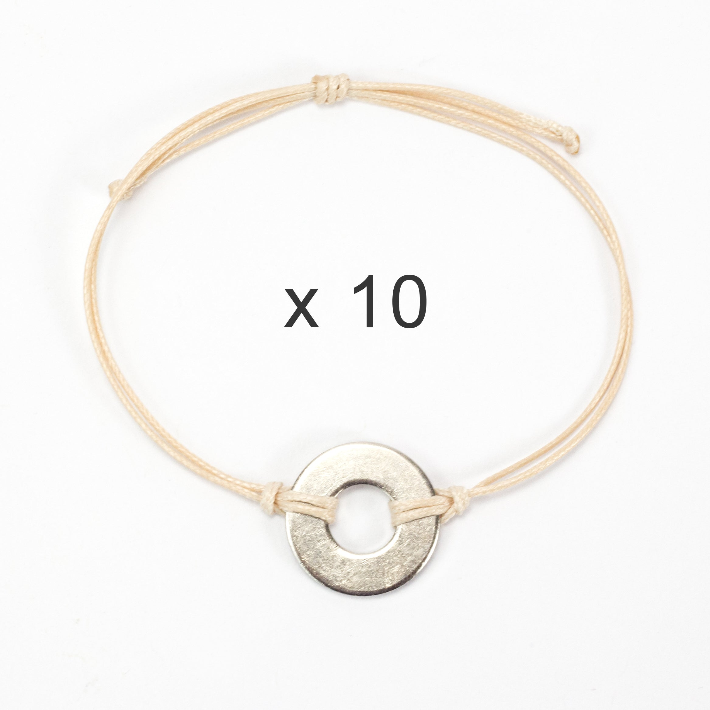MyIntent Refill Classic Bracelets Cream String set of 10 with Nickel tokens