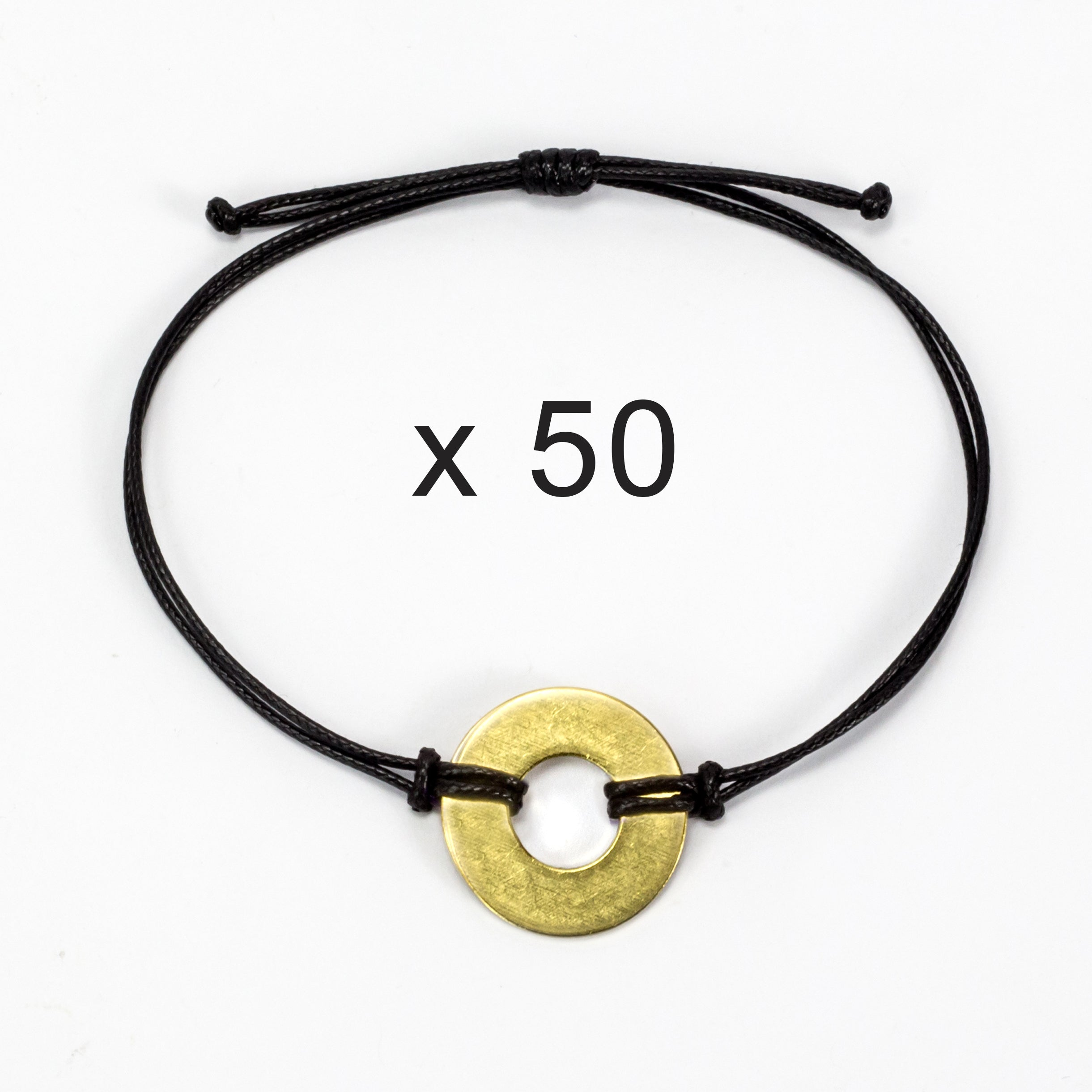 MyIntent Refill Classic Bracelets Black String set of 50 with Brass tokens