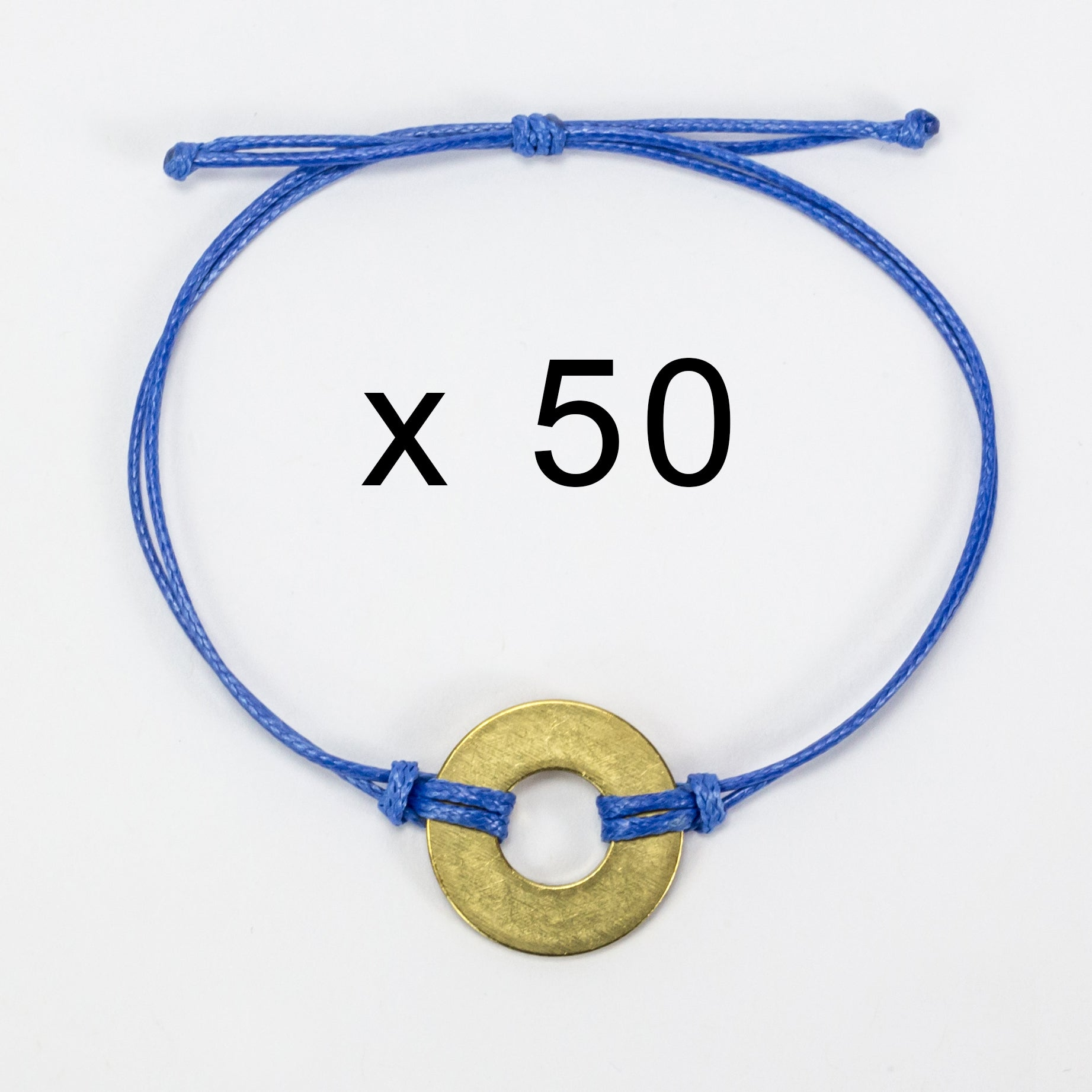 MyIntent Refill Classic Bracelets Blue String set of 50 with Brass tokens