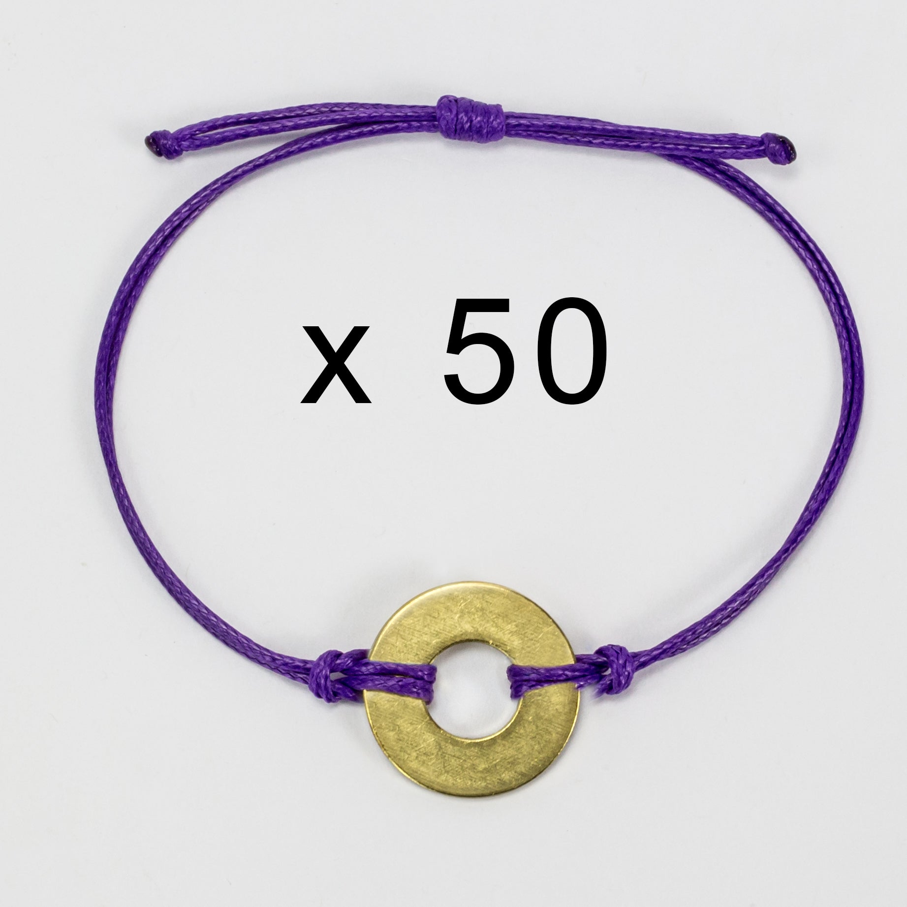 MyIntent Refill Classic Bracelets Purple String set of 50 with Brass tokens