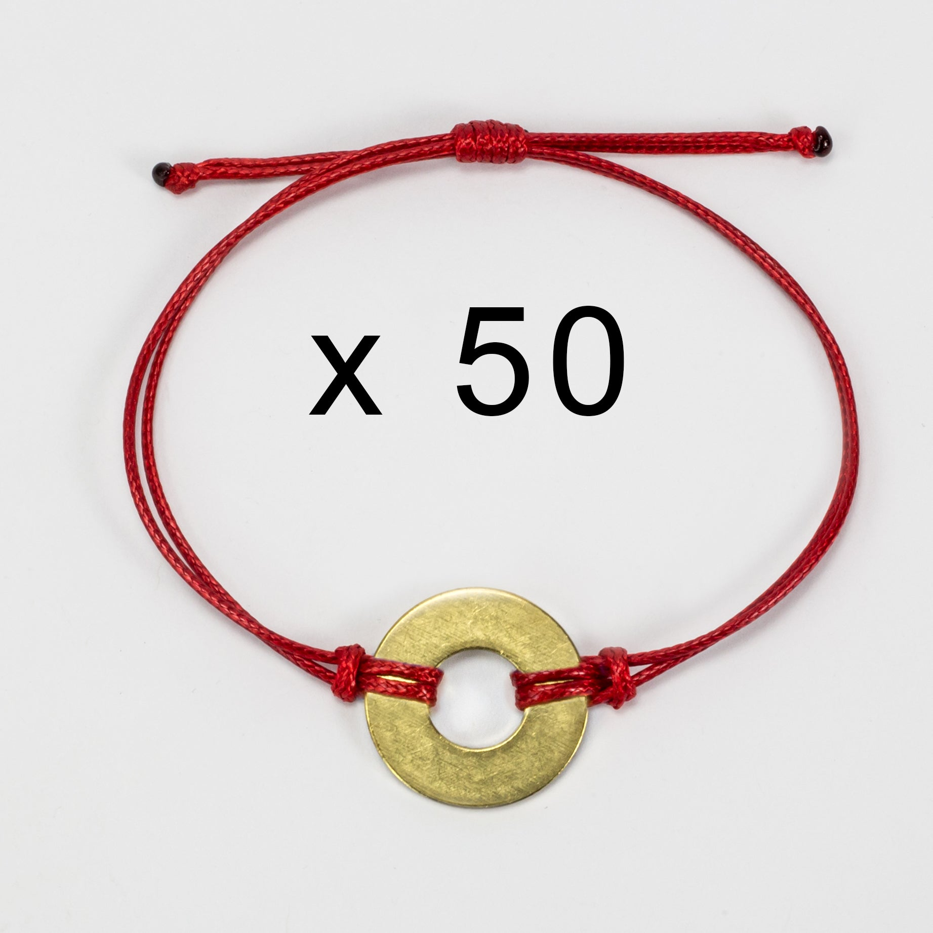 MyIntent Refill Classic Bracelets Red String set of 50 with Brass tokens