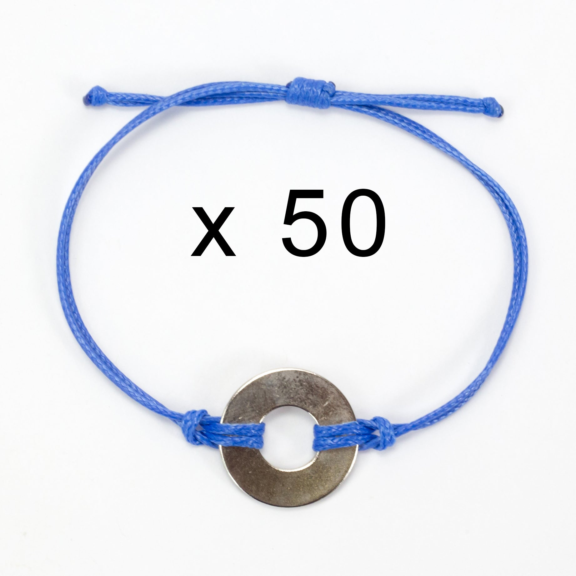 MyIntent Refill Classic Bracelets Blue String set of 50 with Nickel tokens