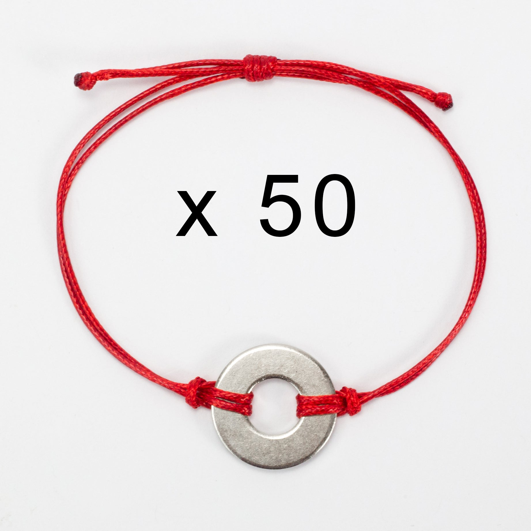 MyIntent Refill Classic Bracelets Red String set of 50 with Nickel tokens