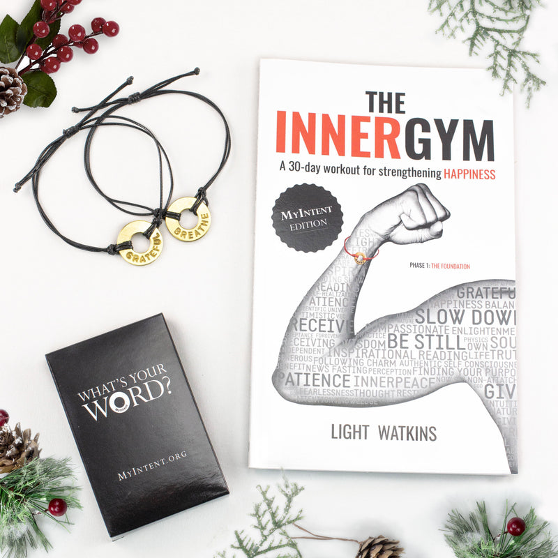 MyIntent Gratitude Pack includes Inner Gym book, 33 question cards, & either a necklace or bracelets