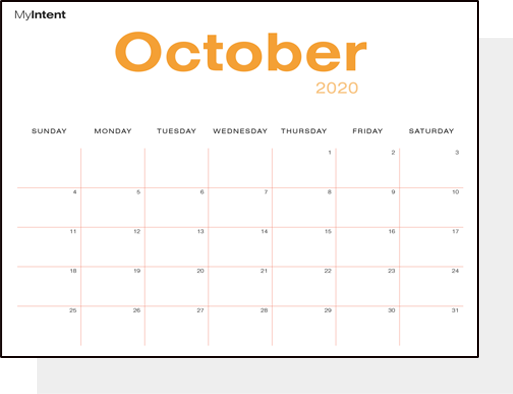 MyIntent Branded and printable blank Calendar Pages