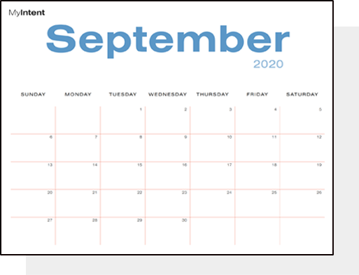 MyIntent Blank Calendar Pages: branded and printable MyIntent calendar pages
