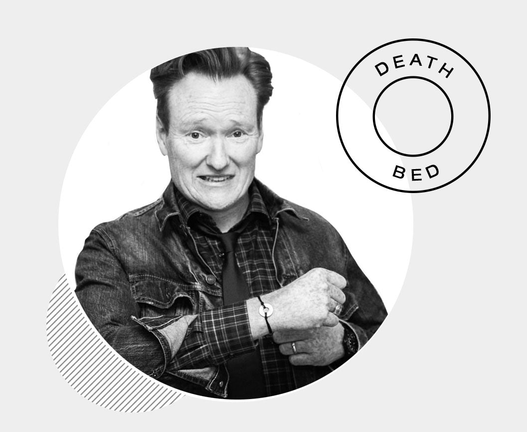 Conan O'Brien with his custom MyIntent bracelet with the words DEATH BED