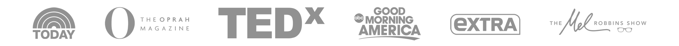 Logos of USA Today, The Oprah Magazine, Tedx, Good Morning America, Extra, and the Mel Robbins Show