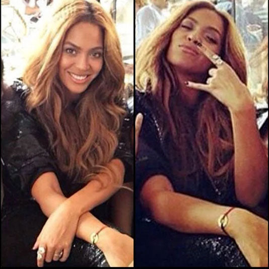 Beyonce wearing her MyIntent bracelet with the word SURRENDER