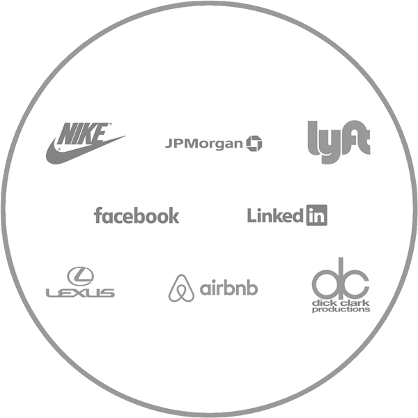 MyIntent for corporate and Client Gifting (Logos of Nike, Lyft, JP Morgan Chase, Facebook, LinkedIn, Lexus, AirBnb, & Dick Clark Productions)