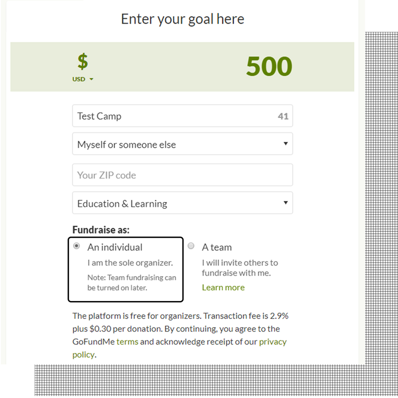 Step 3, you must say who you are fundraising for. Be sure to choose