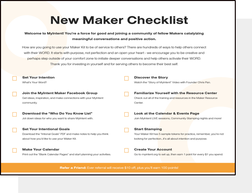 MyIntent New Maker Checklist: a handy checklist to help you set your intention and familiarize yourself with all of our resources