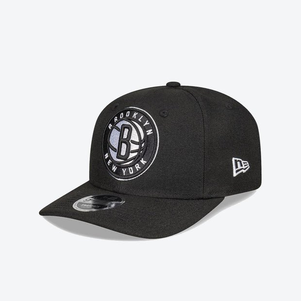 Brooklyn Nets Logo Pre Curved 950 Snapback - Black