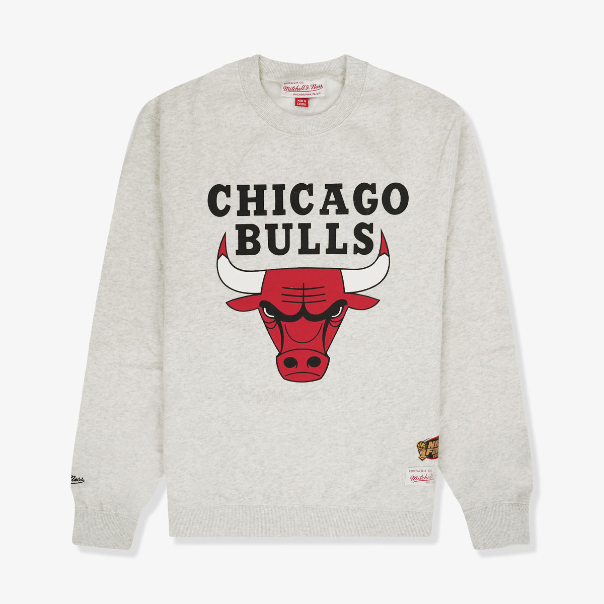 Chicago Bulls Basic Team Logo Crew Sweatshirt - White Marle
