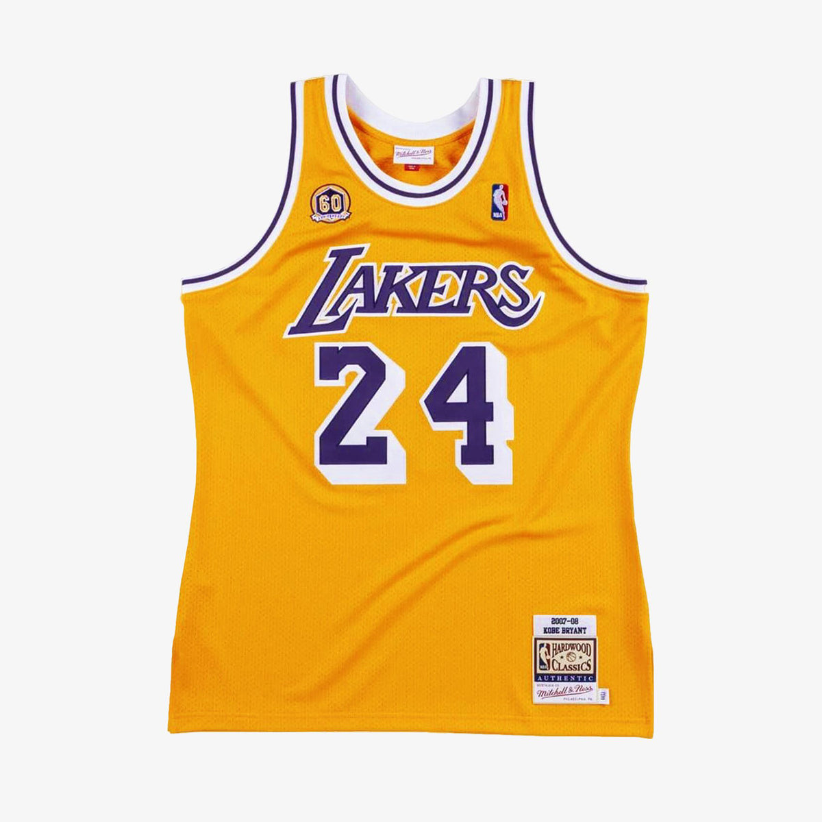 Kobe Bryant Los Angeles Lakers Anniversary Home 2007-08 Authentic Hardwood Classic Jersey - Yellow