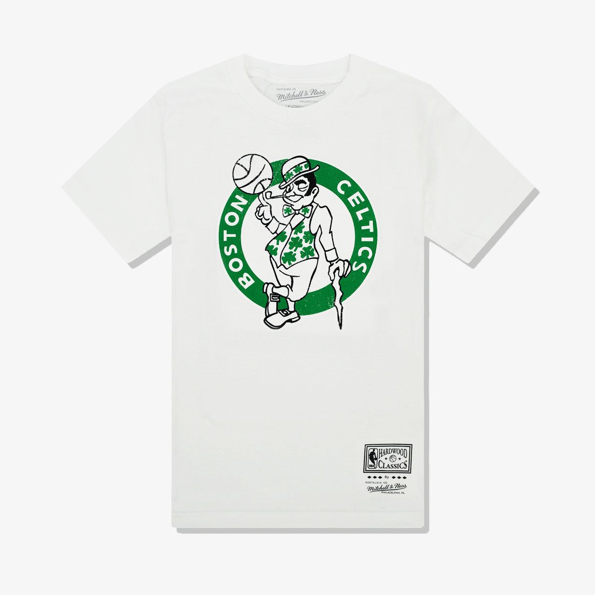 Boston Celtics Distressed Logo Tee - White
