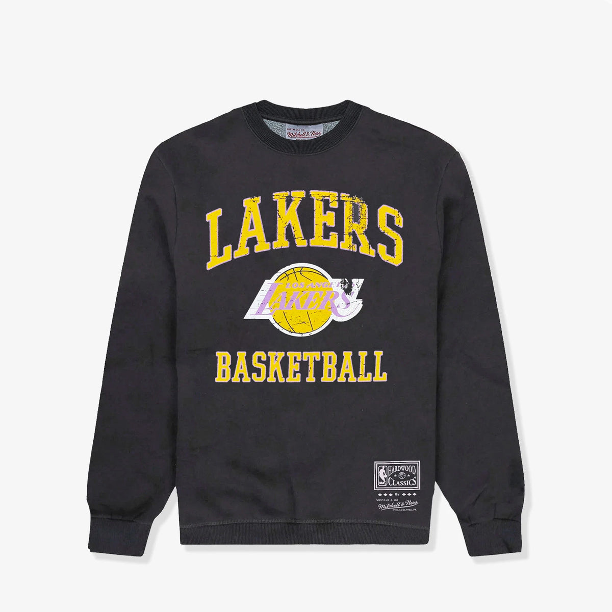 Los Angeles Lakers Women's Locker Room Logo Crew Sweatshirt - Faded Black