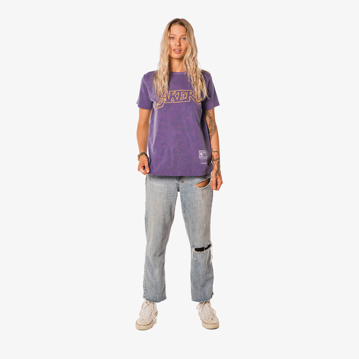 Los Angeles Lakers Women's Vintage Team Logo T-Shirt - Faded Purple