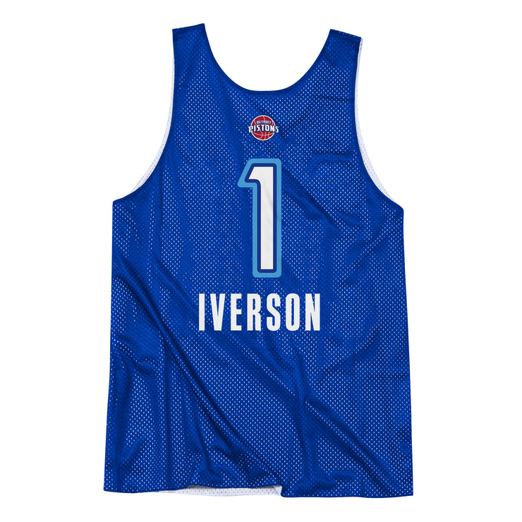 Detroit Pistons All Star 09 Allen Iverson Reversible Tank Jersey - White/Royal