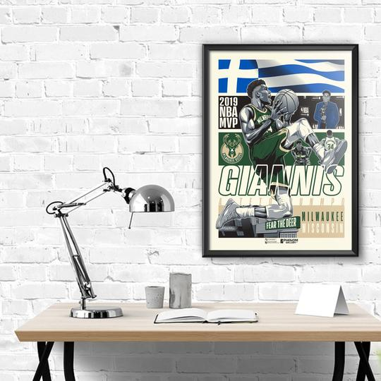 "Milwaukee Bucks 2019 Giannis Birthday 18""24"" Serigraph Print"