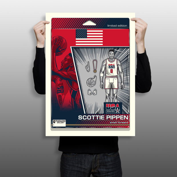 "USA Basketball Scottie Pippen Action Figure 18""-24"" Serigraph Print"