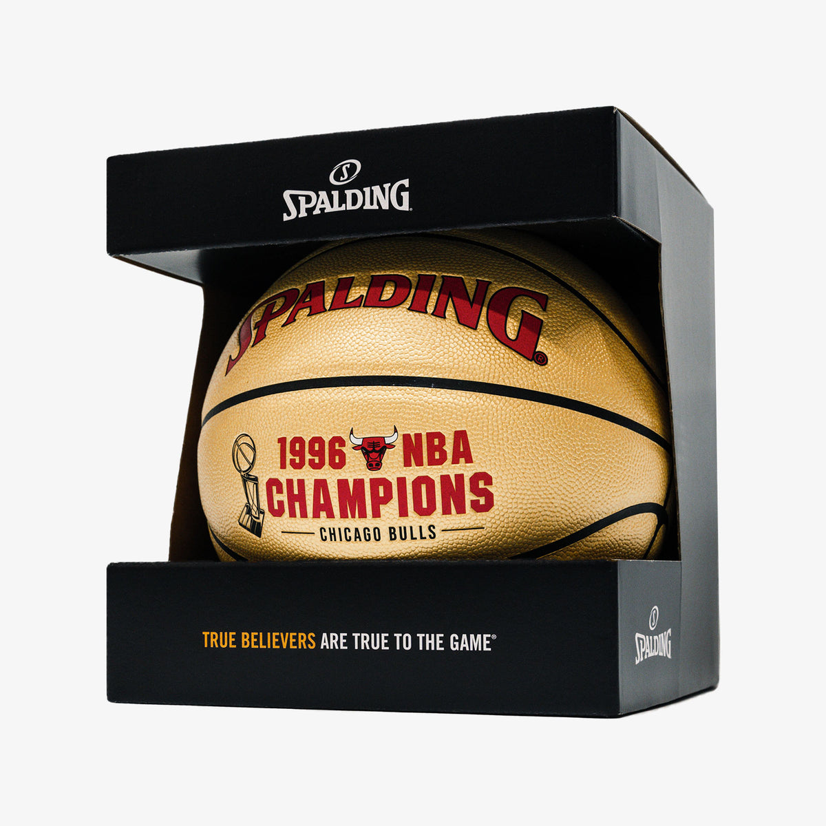 Spalding Chicago Bulls 1996 Championship Indoor/Outdoor Composite Leather Basketball - Limited Edition - Gold - Size 7
