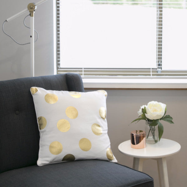 Gold Spot White Cushion - Harrison & Co - Lifestyle & Design