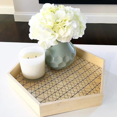 Hexagon Wooden Large Tray