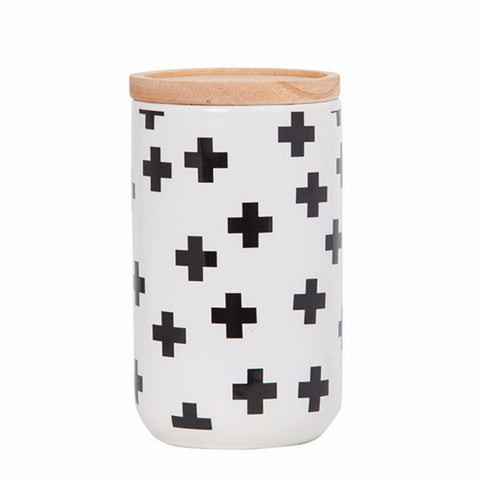 Tall Canister Black Crosses