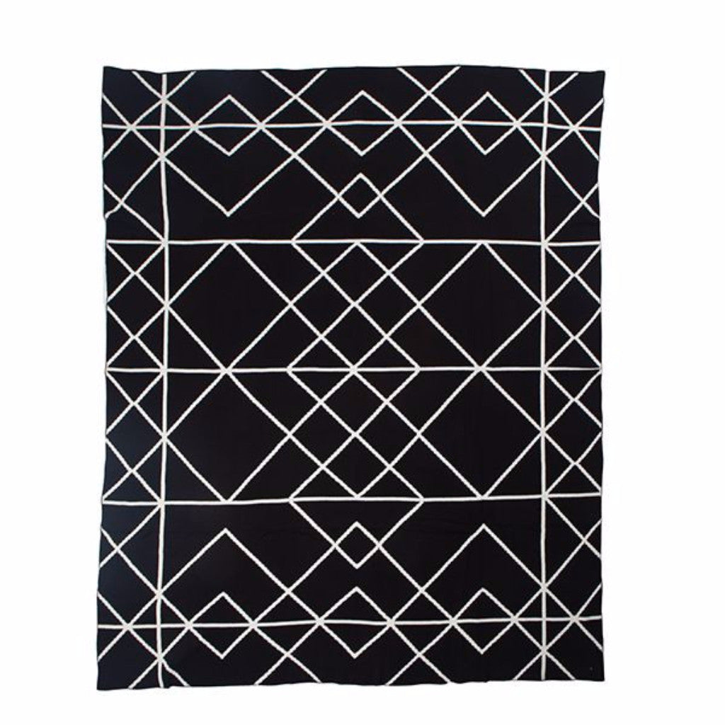 Knit Throw Black Lines - Harrison & Co - Lifestyle & Design