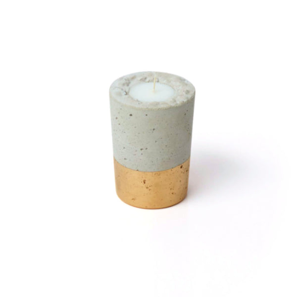 Concrete Candle - Tall Gold - Harrison & Co - Lifestyle & Design