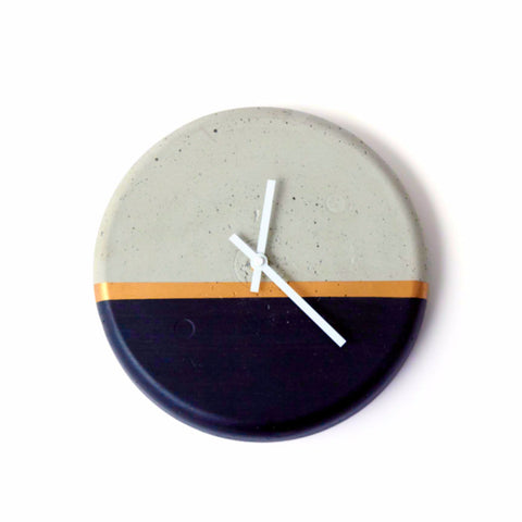 Concrete Clock - Black with Gold Stripe