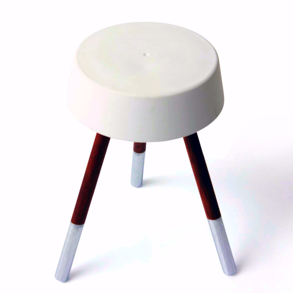 Concrete Stool - White/Metallic Silver - Harrison & Co - Lifestyle & Design