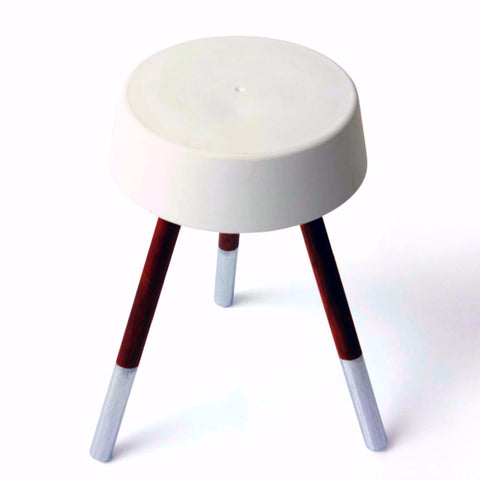 Concrete Stool - White/Metallic Silver