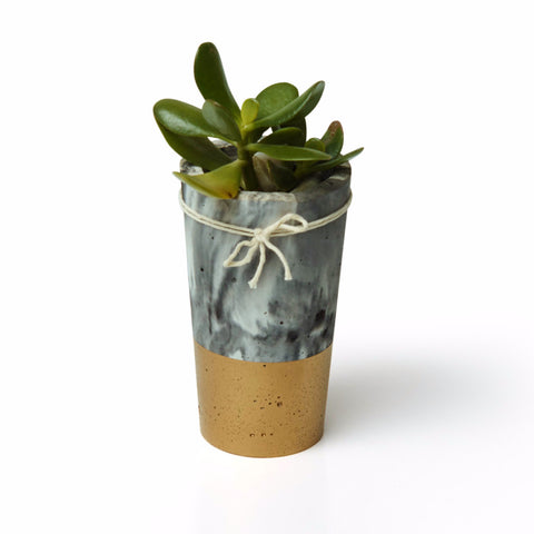 Marbled Concrete Planter - Metallic Gold