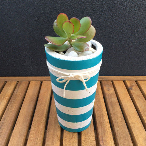 Tall Linear Crush Concrete Planter