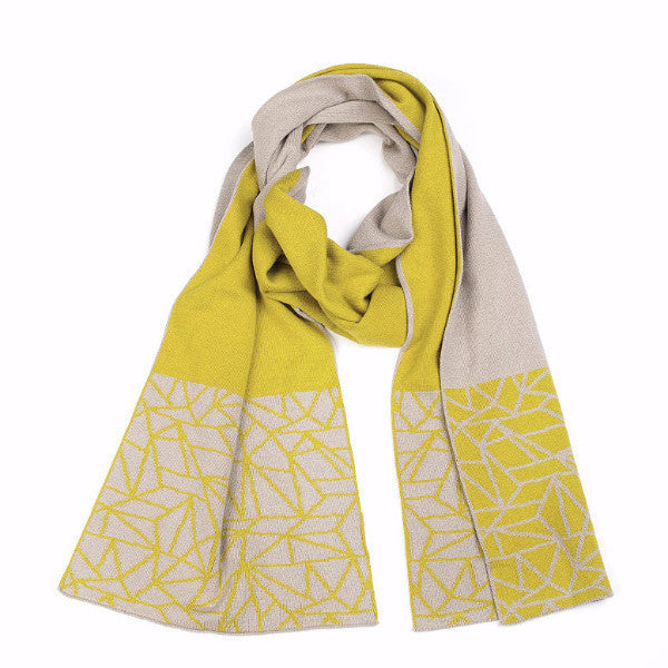 Shard Hem Scarf - Stone/Moss - Harrison & Co - Lifestyle & Design