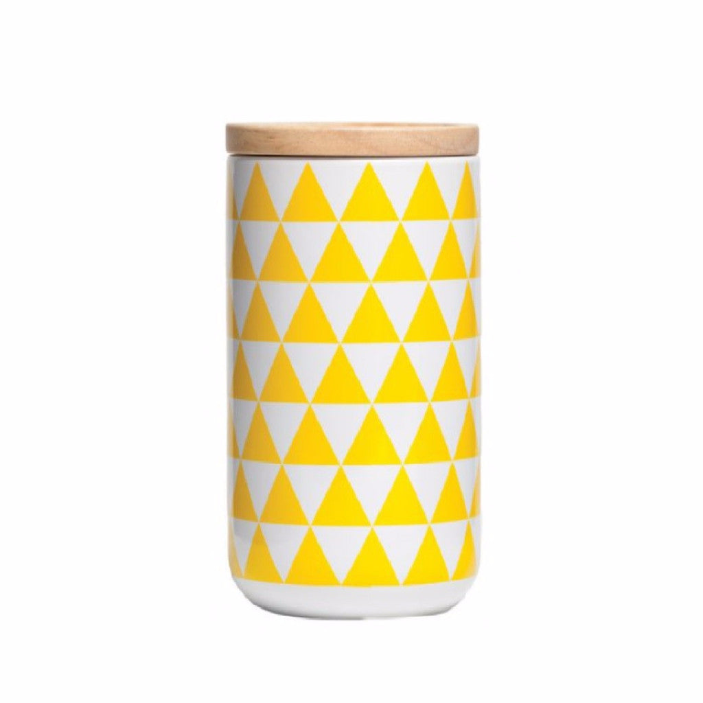 Tall Canister Yellow Triangles - Harrison & Co - Lifestyle & Design