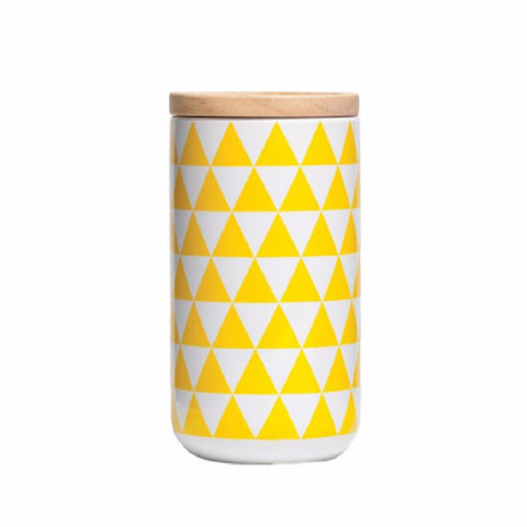 Tall Canister Yellow Triangles