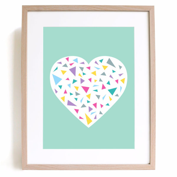 Minty Heart A4 Print - Harrison & Co - Lifestyle & Design