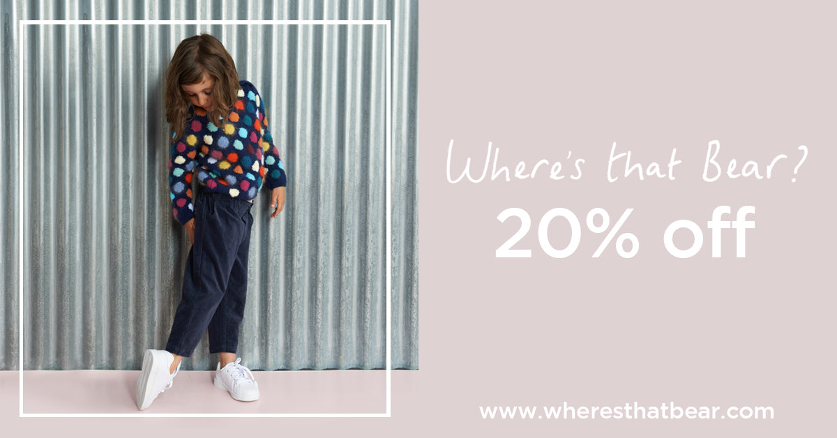 Our Autumn / Winter collection is now on sale! There's 20% off and more at www.wheresthatbear.com