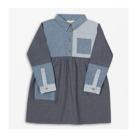 Chambray Patch Dress Front