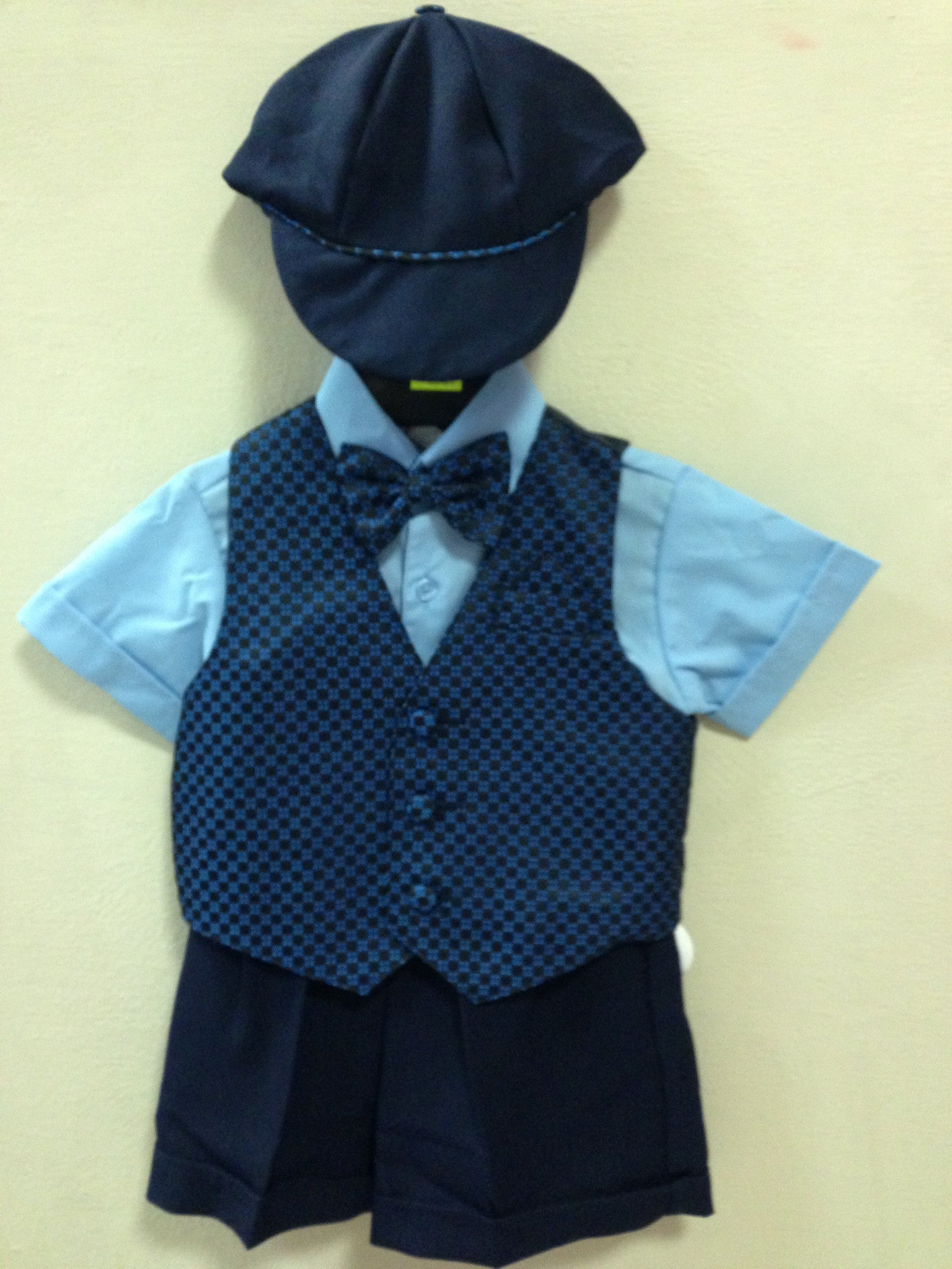 Boy 5 Pcs Formal, Short Vest Shirt Bow and Cap