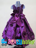 Girl Dress Deep Purple with Flowers and Sequins in fabric