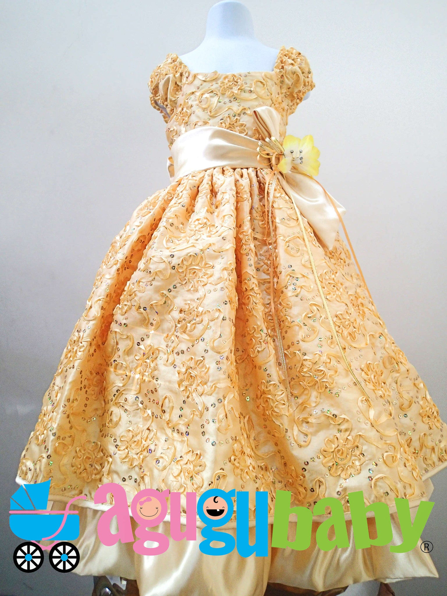 Girl Dress Yellow with Ribbon Flowers Embroided in Fabric