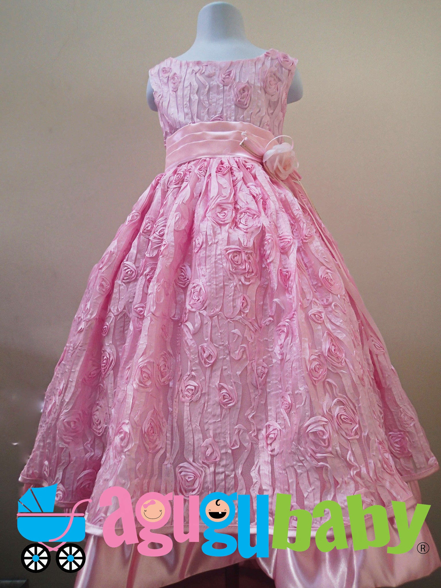 Girl Pink Dress With Embellished Fabric