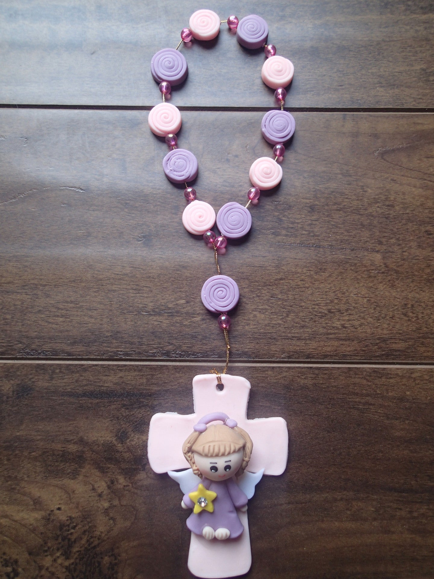 Baptism Cold Porcelain Favor Angel Girl Pink Lilac