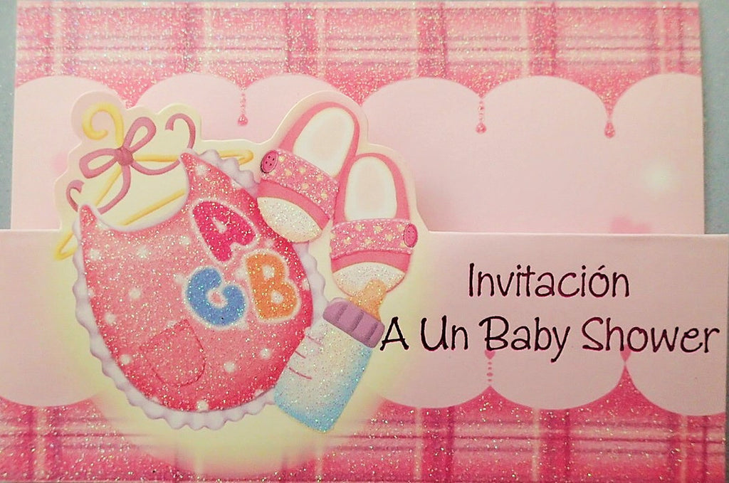 Baby Shower Invitation Bib and Shoes